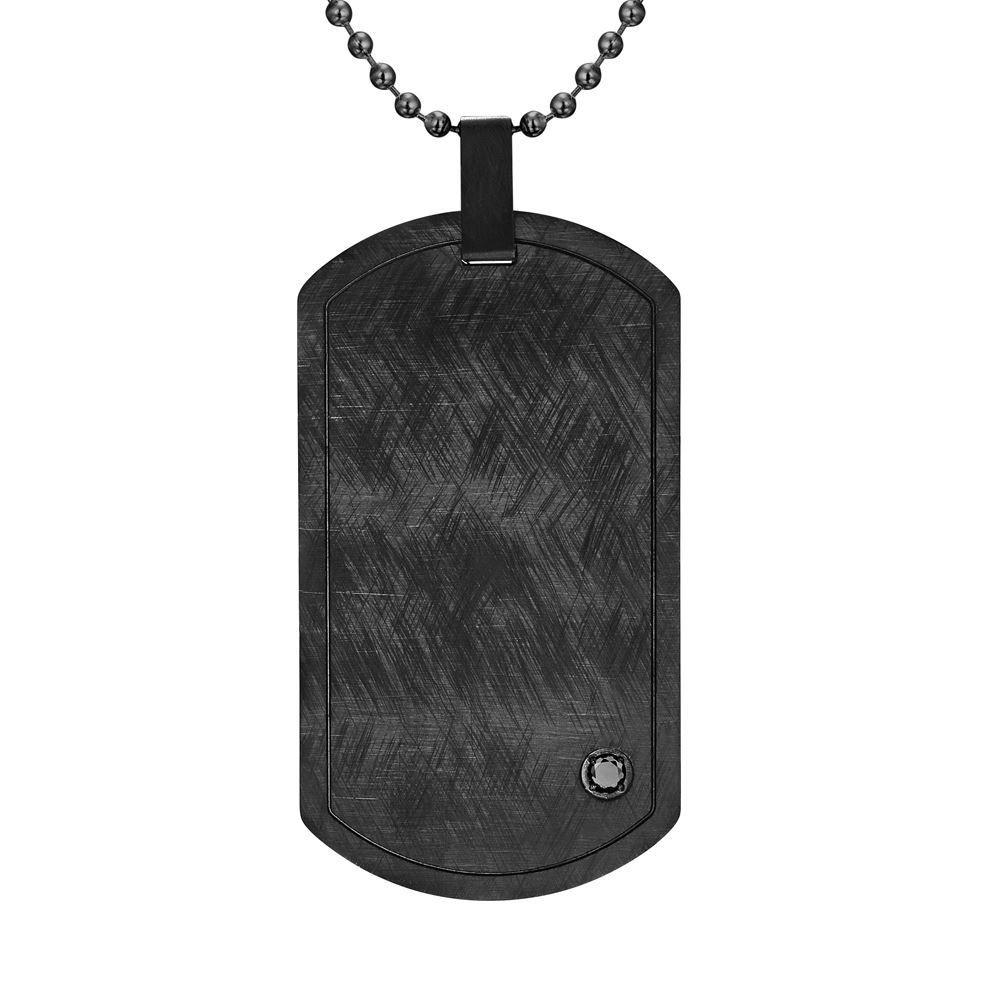 "Willis Judd Mens Black Cz Stainless Steel Pendant with 22"" Necklace and Gift Pouch 7"