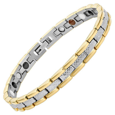 Willis Judd Womens Two Tone Four Element Titanium Magnetic Bracelet with Free Link Removal Tool and Gift Box
