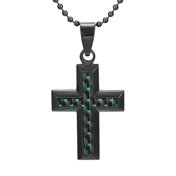 Willis Judd Men's Black Stainless Steel Cross Pendant Engraved I Love You with Green Carbon fibre and Necklace with Gift Pouch