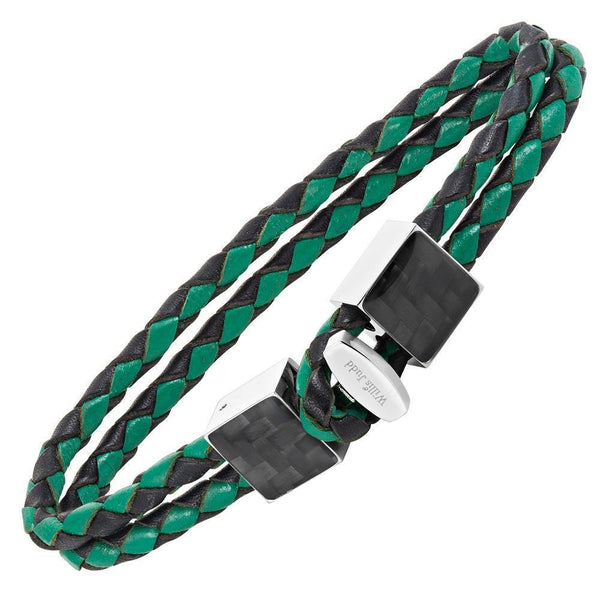 Willis Judd Men's Black and Green Magnetic Leather and Stainless Steel Bracelet with Black Carbon fibre Gift Boxed