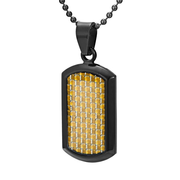 Willis Judd Men's Black Stainless Steel Dog Tag Pendant with Colored Carbon fibre and Necklace & Pouch