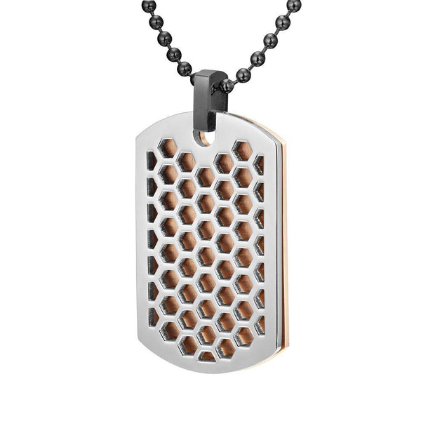 Willis Judd Mens Stainless Steel Two Tone Honey Comb Pendant with Necklace and gift Pouch