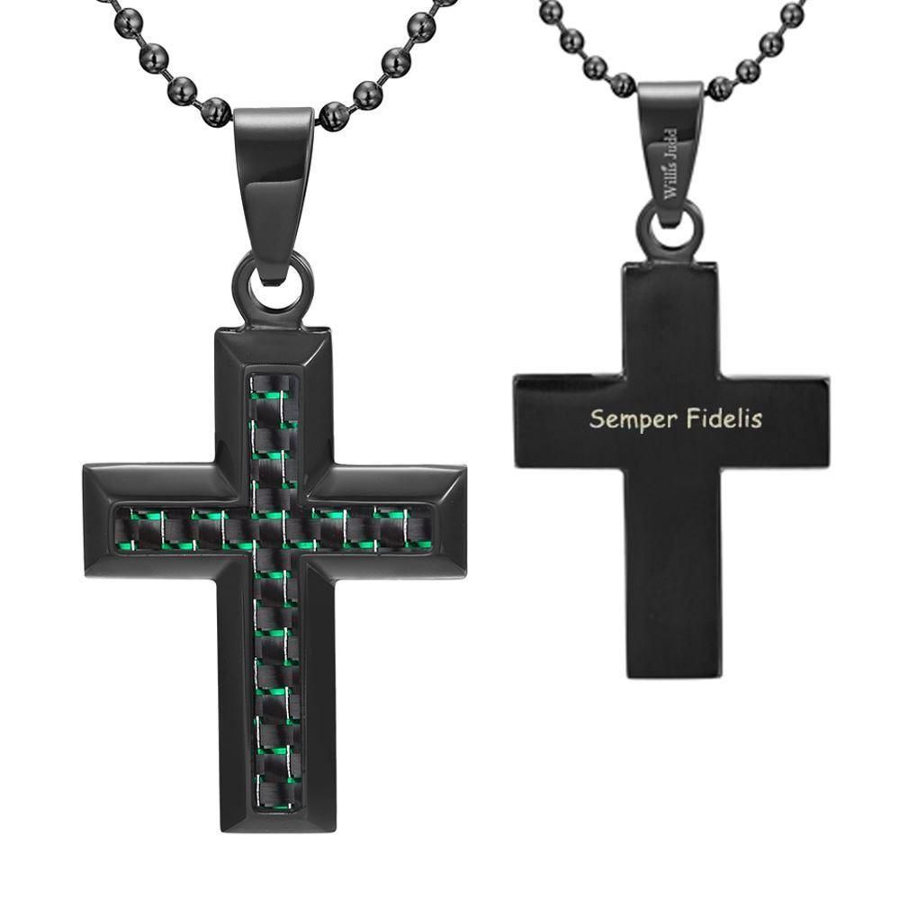 Willis Judd Men's Black Stainless Steel Cross Pendant Engraved US Marin Latin Semper Fidelis with Green Carbon fibre and Necklace with Gift Pouch