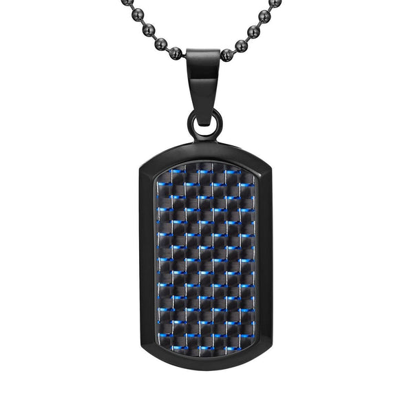Willis Judd Men's Black Stainless Steel Dog Tag Pendant Engraved I Love You with Blue Carbon fibre and Necklace with Gift Pouch
