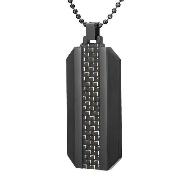 Willis Judd Mens Two Tone Black Stainless Steel With Carbon fibre Pendant with Necklace and Gift Pouch