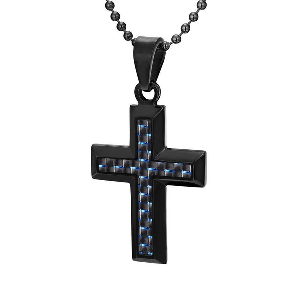 Willis Judd Men's Black Stainless Steel Cross Pendant Engraved Together Forever with Blue Carbon fibre and Necklace with Gift Pouch