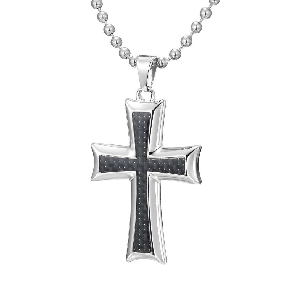 Willis Judd Mens Stainless Steel Cross Black Carbon fibre Pendant with Necklace and Gift Pouch