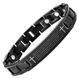 New Mens Lord Prayer English Titanium Magnetic Bracelet Free Adjuster Gift Box - TB119