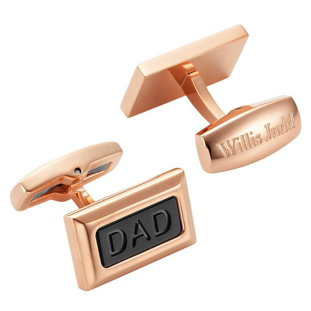 Willis Judd Men's DAD Two Tone Black and Rose Stainless Steel with Black Carbon FIber Cufflinks with Gift Pouch