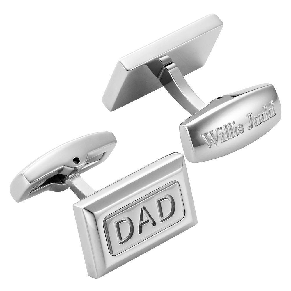 Willis Judd Men's DAD Stainless Steel Cufflinks with Gift Pouch