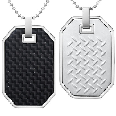 Willis Judd Mens Reversible Stainless Steel Black Carbon Fiber and Checker Plate Effect Pendant with Necklace and Gift Pouch