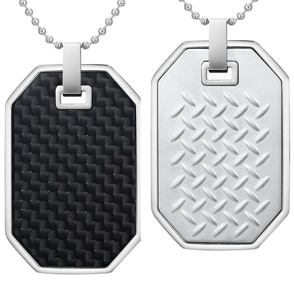 Willis Judd Mens Reversible Stainless Steel Black Carbon fibre and Checker Plate Effect Pendant with Necklace and Gift Pouch