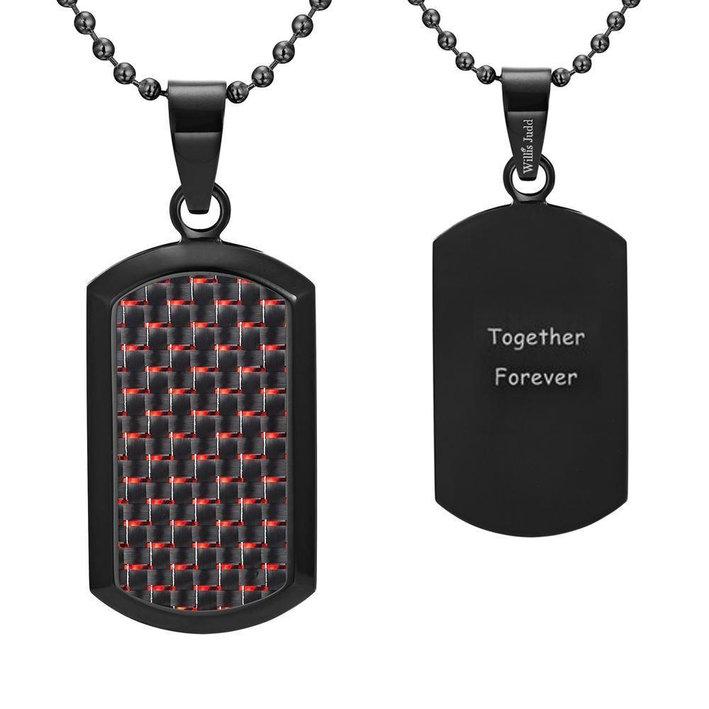 Willis Judd Men's Black Stainless Steel Dog Tag Pendant Engraved Together Forever with Red Carbon fibre and Necklace with Gift Pouch