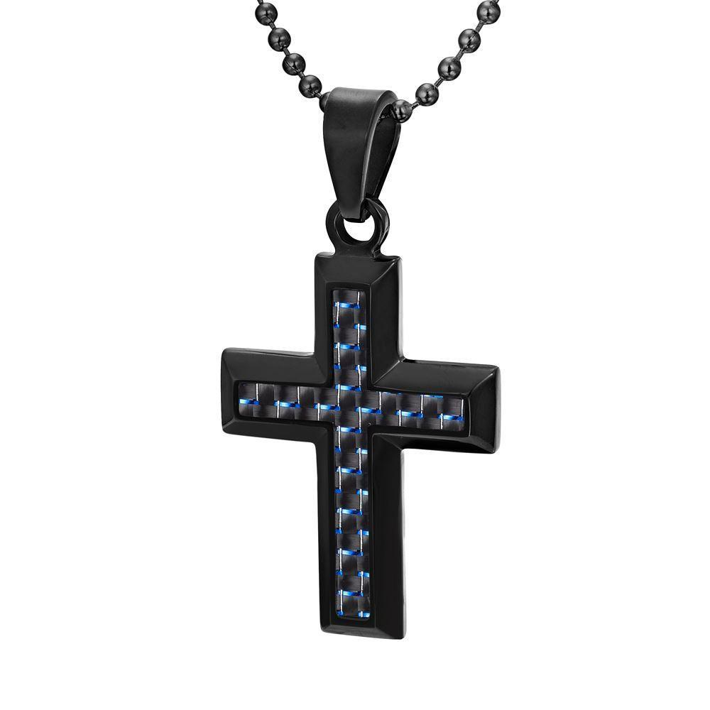 Willis Judd Men's Black Stainless Steel Cross Pendant Engraved Love You Dad with Blue Carbon Fiber and Necklace with Gift Pouch