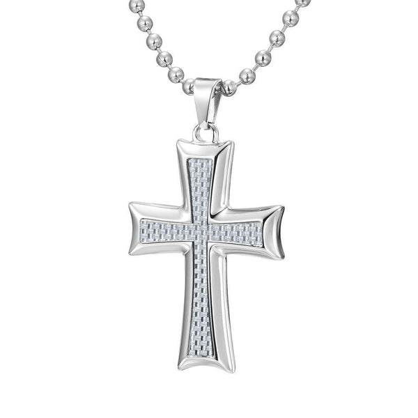 Willis Judd Mens Stainless Steel Cross White Carbon Fiber Pendant with Necklace and Gift Pouch
