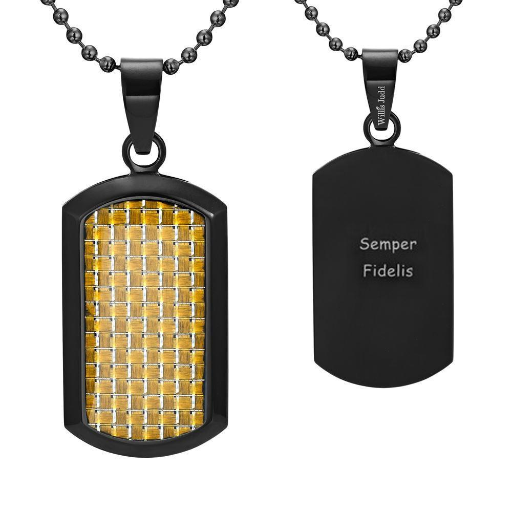 Willis Judd Men's Black Stainless Steel Dog Tag Pendant Engraved US Marine Latin Semper Fidelis with Colored Carbon Fiber and Necklace with Gift Pouch