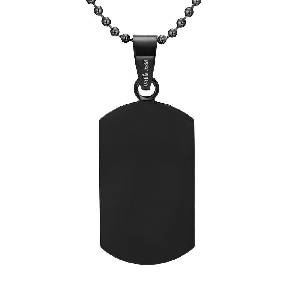 Willis Judd Men's Black Stainless Steel Dog Tag Pendant with Blue Carbon fibre and Necklace & Pouch