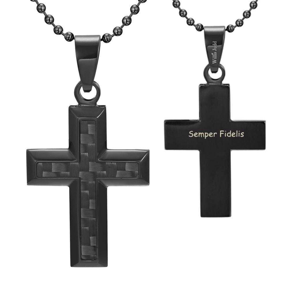 Willis Judd Men's Black Stainless Steel Cross Pendant Engraved US Marin Latin Semper Fidelis with Black Carbon fibre and Necklace with Gift Pouch