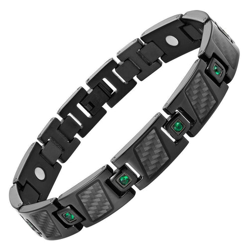 Willis Judd Men's Black Titanium with Green CZ and Black Carbon fibre Magnetic Bracelet Gift Boxed with Link Removal Tool