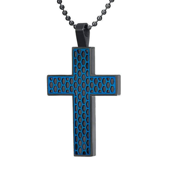 Willis Judd Mens Black Stainless Steel Cross with Blue Honey Comb Pendant with Necklace and Gift Pouch