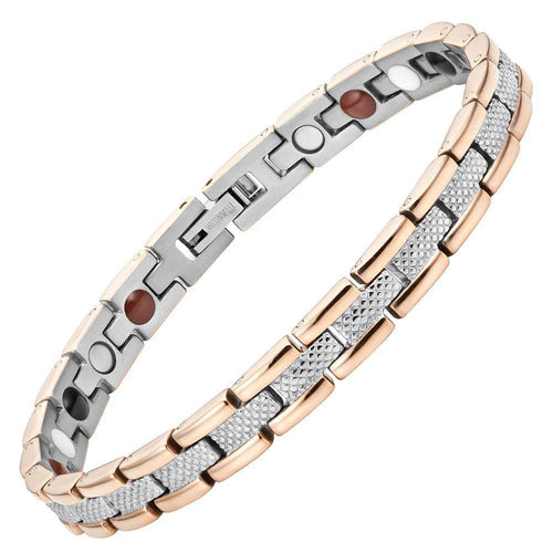 Willis Judd Womens Two Tone Four Element Titanium Magnetic Bracelet with Link Removal Tool and Gift Box