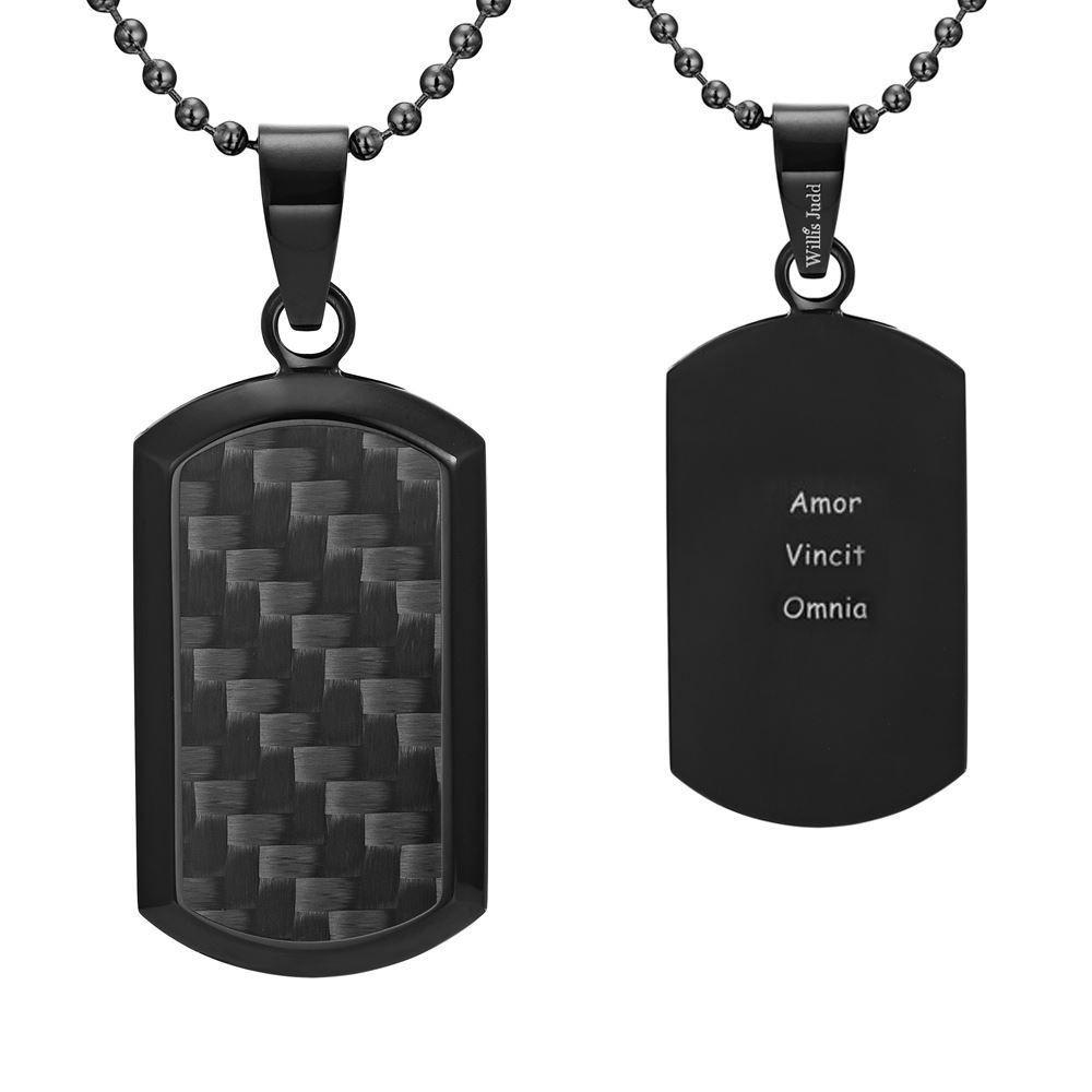 Willis Judd Men's Black Stainless Steel Dog Tag Pendant Engraved Latin Love Amor Vincit Omnia with Black Carbon fibre and Necklace with Gift Pouch