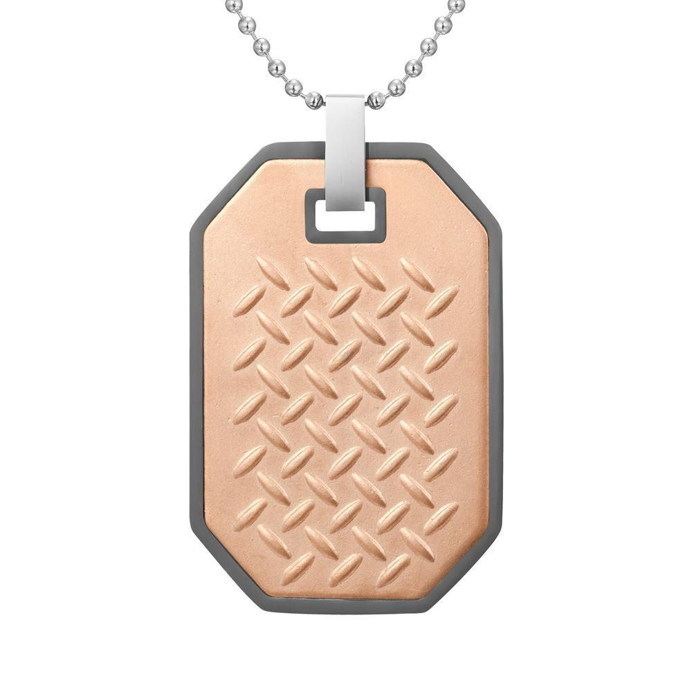 Willis Judd Mens Two Tone Gun Metal Stainless Steel Checkered Plate Effect Pendant with Necklace and Gift Pouch