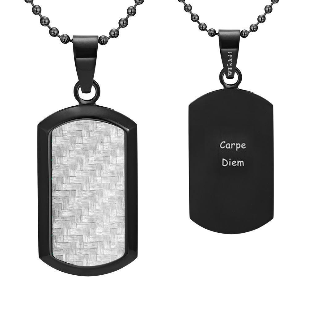Willis Judd Men's Black Stainless Steel Dog Tag Pendant Engraved Latin Carpe Diem with Carbon fibre and Necklace with Gift Pouch