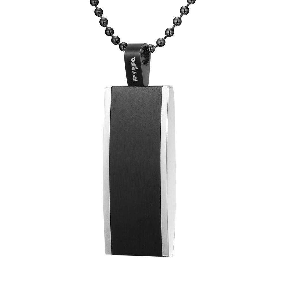 Willis Judd Mens Black Stainless Steel Tri Color White Carbon fibre Pendant with Necklace and Gift Pouch