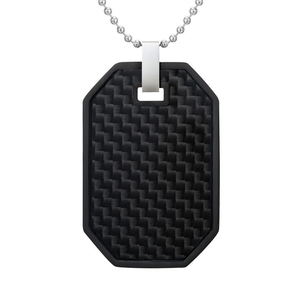 Willis Judd Mens Reversible Black Stainless Steel Black Carbon fibre and Checker Plate Effect Pendant with Necklace and Gift Pouch