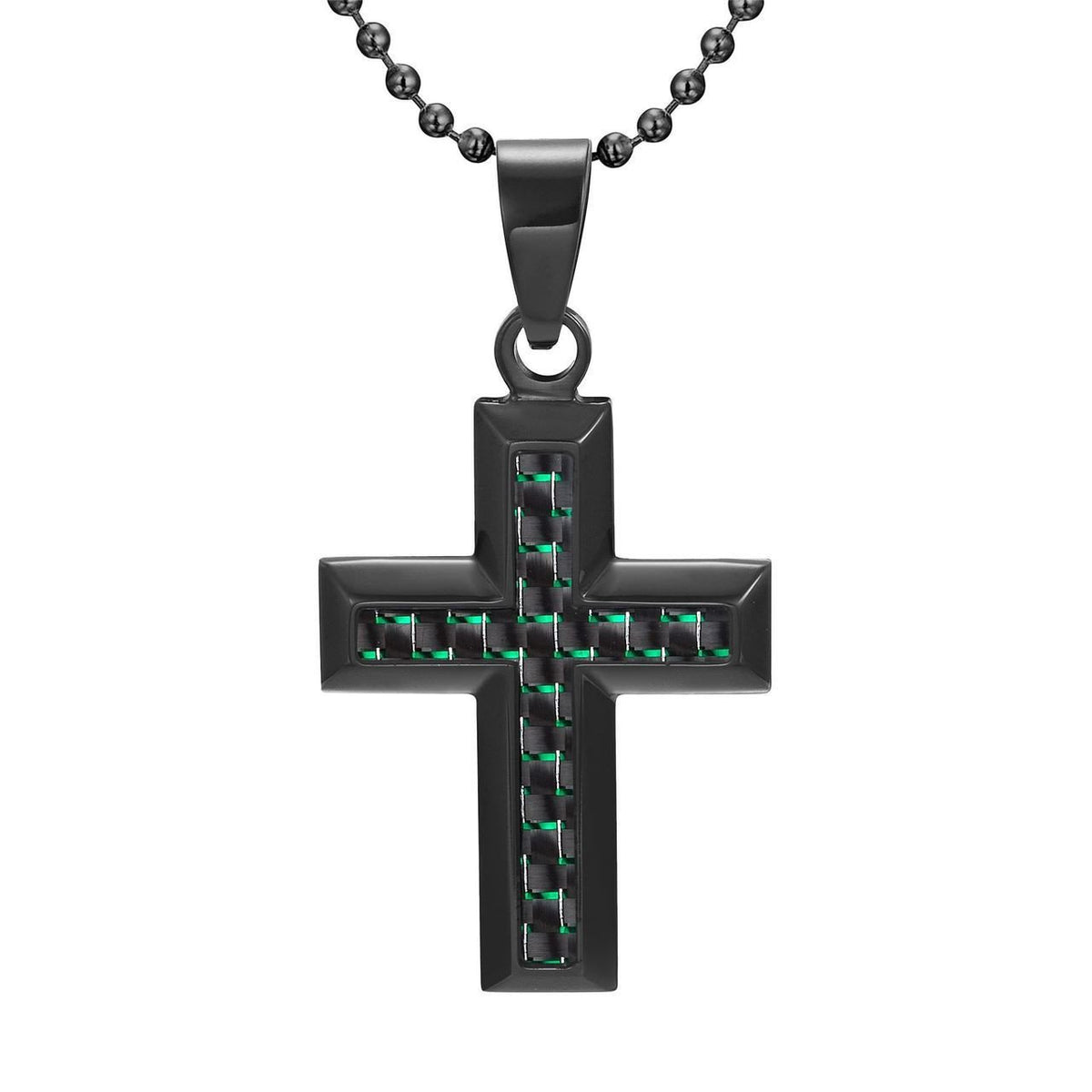 Willis Judd Men's Black Stainless Steel Cross Pendant Engraved Latin Carpe Diem with Green Carbon fibre and Necklace with Gift Pouch