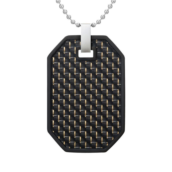 Willis Judd Mens Reversible Black Stainless Steel Carbon Fiber and Checker Plate Effect Pendant with Necklace and Gift Pouch