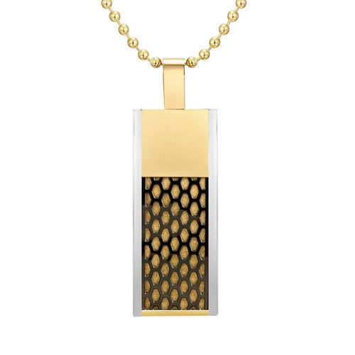 Willis Judd Mens Black Stainless Steel Tri Color Honey Comb Pendant with Necklace and Gift Pouch