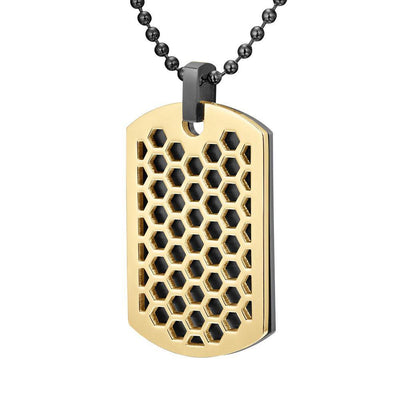 Willis Judd Mens Black Stainless Steel Tone Honey Comb Pendant with Necklace and gift Pouch