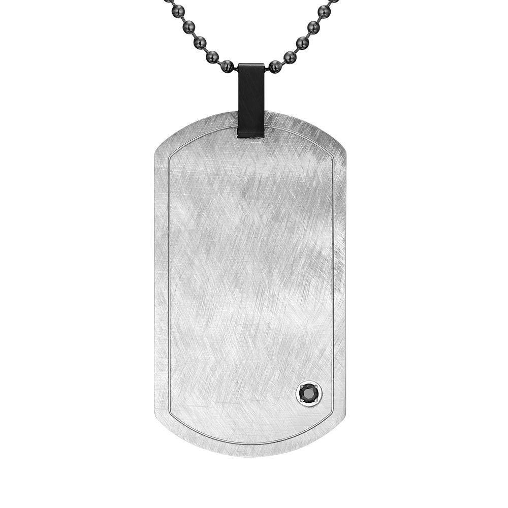 "Willis Judd Mens Silver Cz Stainless Steel Pendant with 22"" Necklace and Gift Pouch 8"