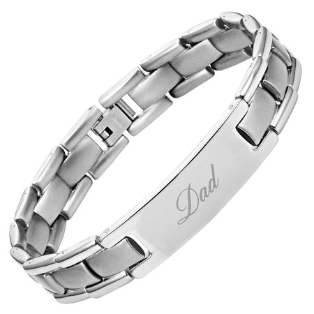 Mens Two Tone Titanium DAD Bracelet Engraved Best Dad Ever