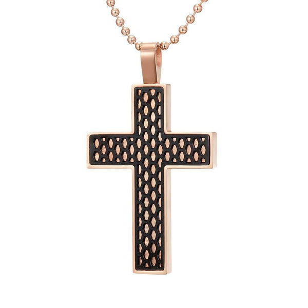 Willis Judd Mens Black Stainless Steel Two Tone Cross Honey Comb Pendant with Necklace and Gift Pouch