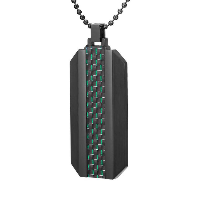 Willis Judd Mens Black Stainless Steel with Green Carbon Fiber Pendant with Necklace and Gift Pouch