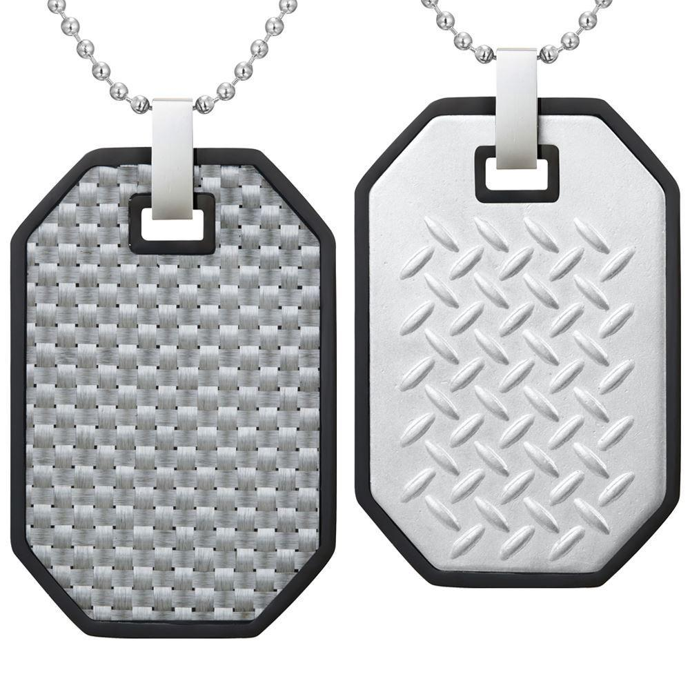 Willis Judd Mens Reversible Black Stainless Steel With White Carbon fibre and Checker Plate Effect Pendant with Necklace and Gift Pouch