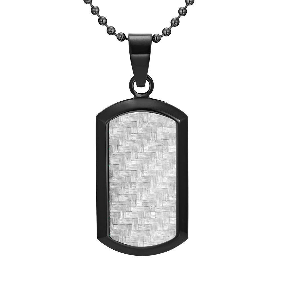 Willis Judd Men's Black Stainless Steel Dog Tag Pendant with Carbon Fiber and Necklace & Pouch