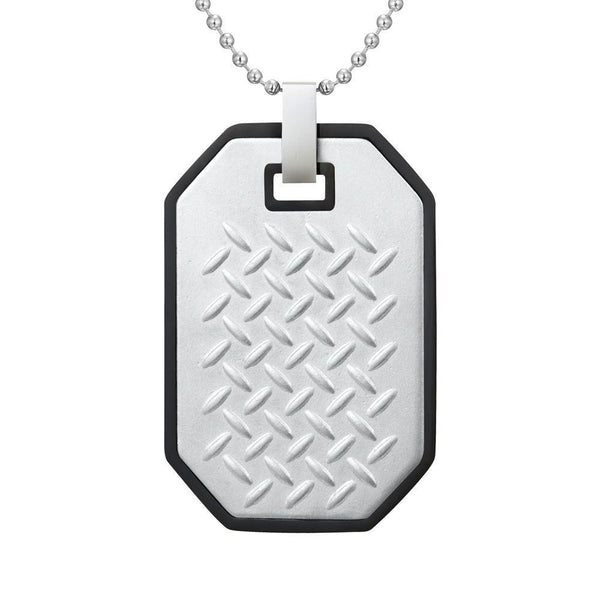 Willis Judd Mens Black Two Tone Stainless Steel Checkered Plate Effect Pendant with Necklace and Gift Pouch