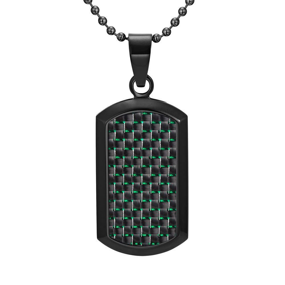 Willis Judd Men's Black Stainless Steel Dog Tag Pendant with Green Carbon fibre and Necklace & Pouch
