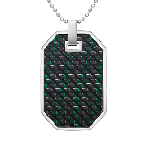 Willis Judd Mens Reversible Stainless Steel Green Carbon Fiber and Checker Plate Effect Pendant with Necklace and Gift Pouch