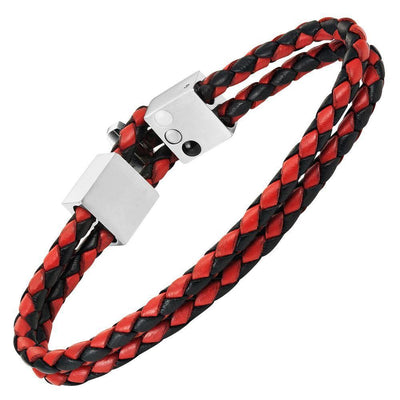 Willis Judd Men's Black and Red Magnetic Leather and Stainless Steel Bracelet with Black Carbon fibre Gift Boxed