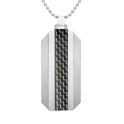 Willis Judd Mens Two Tone Stainless Steel Carbon fibre Pendant with Necklace and Gift Pouch