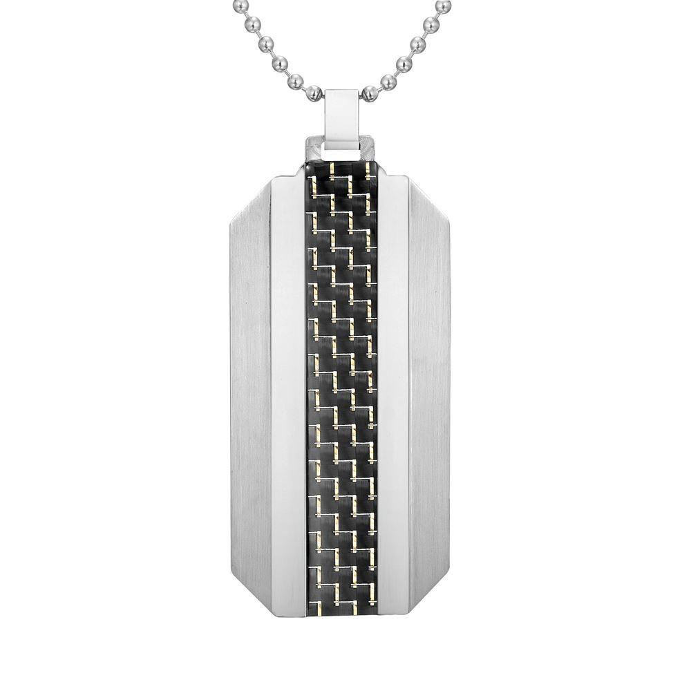 Willis Judd Mens Two Tone Stainless Steel Carbon Fiber Pendant with Necklace and Gift Pouch
