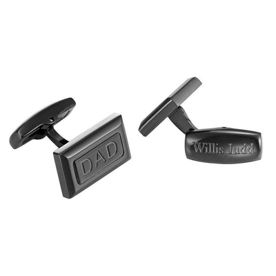 Willis Judd Men's DAD Black Stainless Steel Cufflinks with Gift Pouch