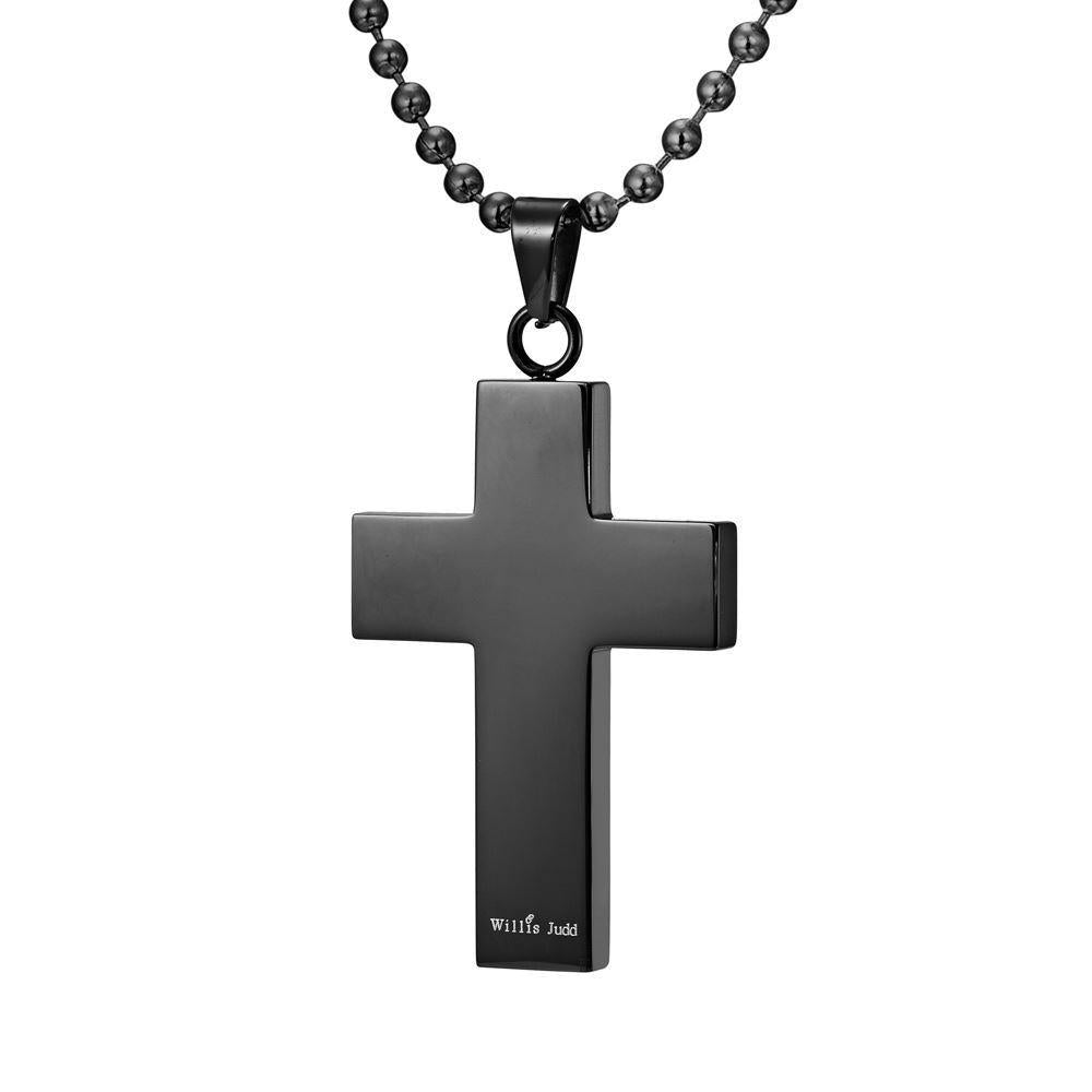 Willis Judd Mens Black Stainless Steel Cross Blue CZ Pendant with Necklace and Gift Pouch