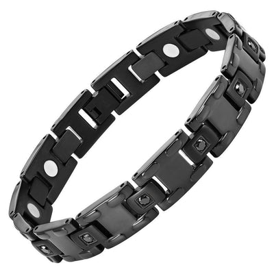 Willis Judd Men's Black Titanium with CZ Magnetic Bracelet Gift Boxed with Link Removal Tool