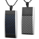 Willis Judd Mens Reversible Black Stainless Steel Blue Carbon fibre and Honeycomb Pendant with Necklace and Gift Pouch